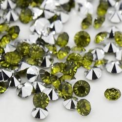 Strass imitation diamant, rond 3 mm, olive x 10
