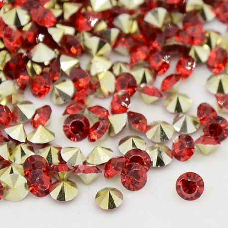Strass imitation diamant, rond 3 mm, rouge x 10