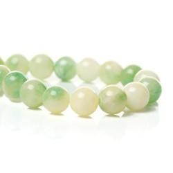 Perle de verre imitation Jade beige et verte, 6 mm