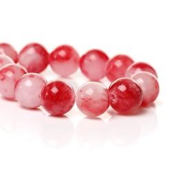 Perle de verre imitation Jade rouge et rose, 10 mm