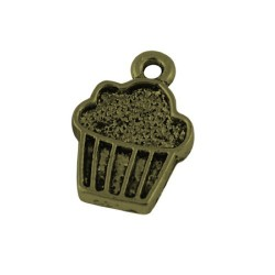 Pendentif breloque en métal cupcake, bronze antique