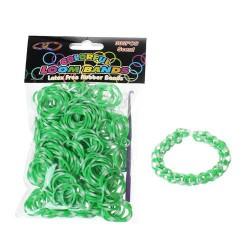 Sachet 300 Elastiques Loom bi-colores Verts blancs
