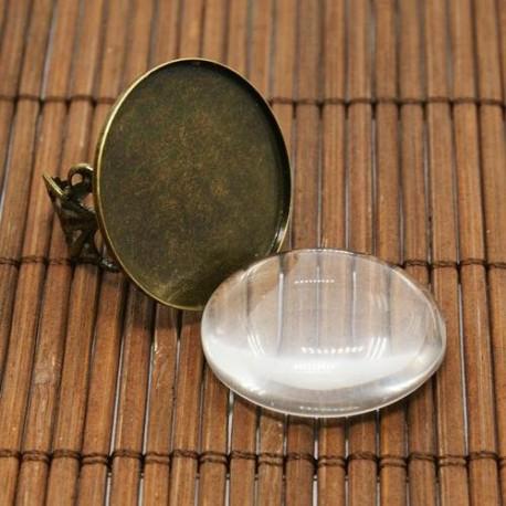 Support de bague dentelle, plateau 25 mm, bronze antique avec cabochon