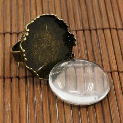 Support de bague crenelé, plateau 25 mm, bronze antique avec cabochon