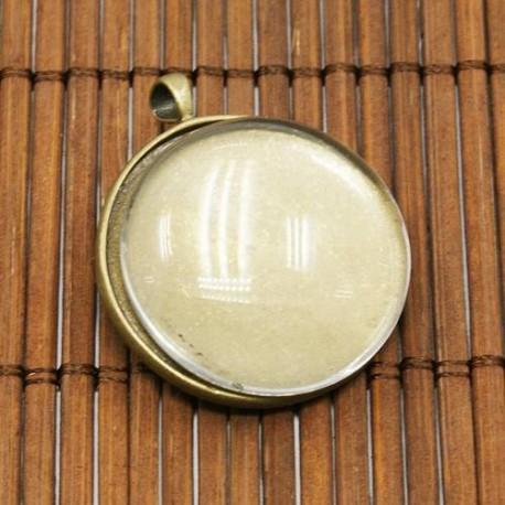 Pendentif plateau 25 mm, bronze antique avec cabochon