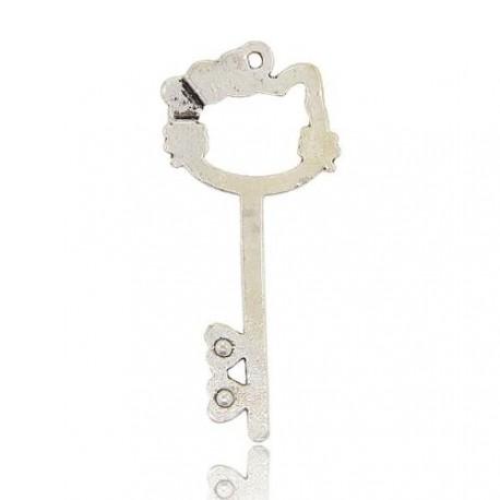 Pendentif breloque en métal Clé Chat, strass blancs, argenté