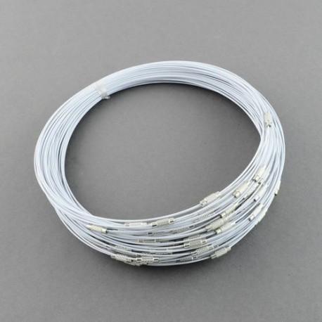 Collier métal couleur blanc, 45 cm