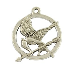 Pendentif breloque en métal Geai moqueur Hunger Games, argenté