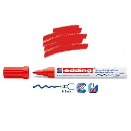 Marqueur satin mat pour surfaces poreuses, Rouge pointe 1-2 mm