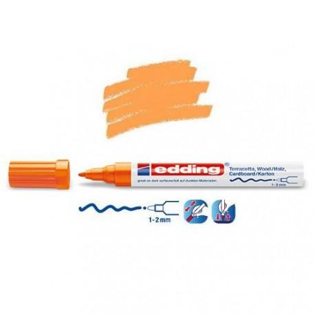 Marqueur satin mat pour surfaces poreuses, Orange pointe 1-2 mm