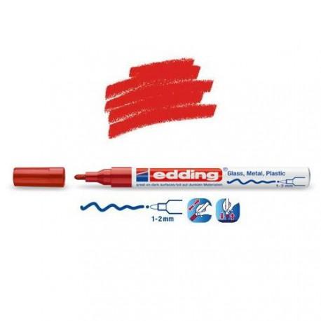 Marqueur sur verre - peinture brillante Rouge pointe 1-2 mm