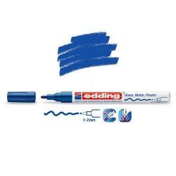 Marqueur sur verre - peinture brillante Bleu pointe 1-2 mm