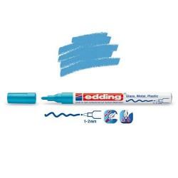 Marqueur sur verre - peinture brillante Bleu clair pointe 1-2 mm