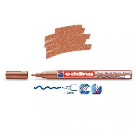 Marqueur sur verre - peinture brillante Cuivre pointe 1-2 mm