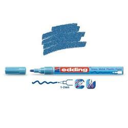 Marqueur sur verre - peinture brillante Bleu clair métallisé pointe 1-2 mm