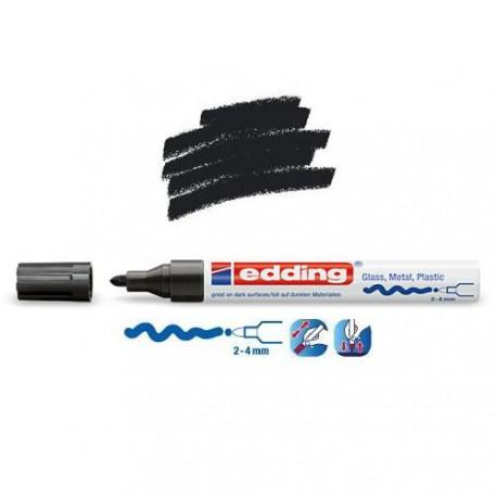 Marqueur sur verre - peinture brillante Noir pointe 2-4 mm