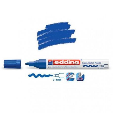 Marqueur sur verre - peinture brillante Bleu pointe 2-4 mm