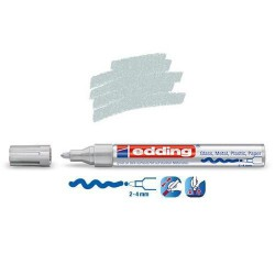Marqueur sur verre - peinture brillante Argent pointe 2-4 mm