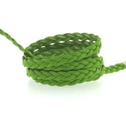 Cordon tressé plat simili cuir vert, 5 mm ø - au mètre