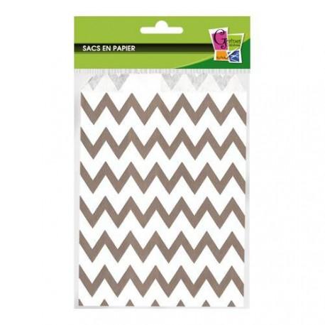 12 sacs en papier striés gris 13 x 19 cm