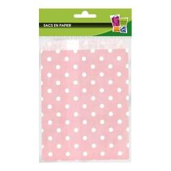 12 sacs en papier à pois roses 13 x 19 cm
