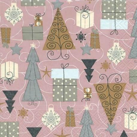 Serviettes en papier Sapins et cadeaux