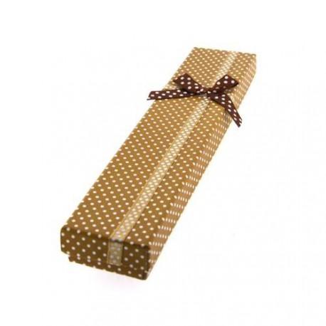 Boîte rectangulaire à pois marron 21 x 4,2 cm