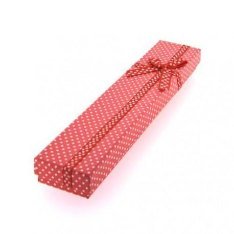 Boîte rectangulaire à pois rouge 21 x 4,2 cm