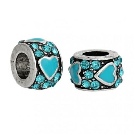 Métal petit Coeur strass et émail turquoise style Pandora - à l'unité