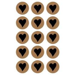 Stickers kraft ronds Coeurs - 60 pièces