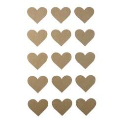 Stickers kraft Coeurs - 60 pièces