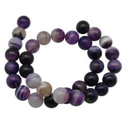 Perle naturelle Agate violette, ronde 8 mm - à l'unité