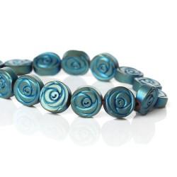 Perle hématite naturelle, fleur turquoise 10mm