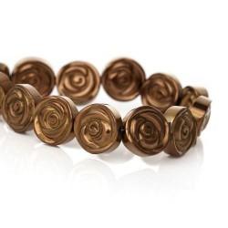 Perle hématite naturelle, fleur brune 12mm