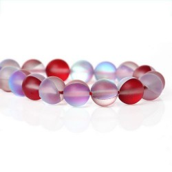 Perle pierre de lune rouge, 8 mm