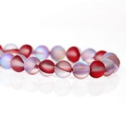 Perle pierre de lune rouge, 6 mm