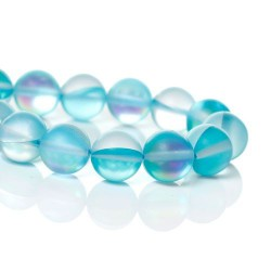 Perle pierre de lune bleu givré, 8 mm