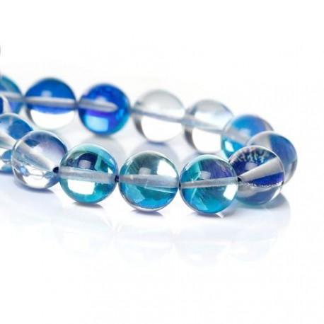 Perle pierre de lune bleu foncé, 6 mm