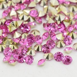 Strass imitation diamant, rond 6 mm, fuschia x 10