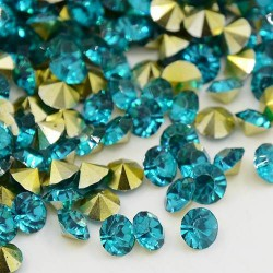Strass imitation diamant, rond 6 mm, turquoise x 10