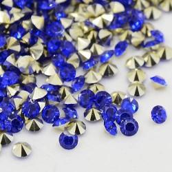 Strass imitation diamant, rond 6 mm, bleu foncé x 10