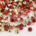 Strass imitation diamant, rond 6 mm, rouge x 10