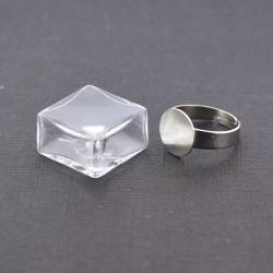 Bague globe en verre - carré 2 cm