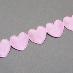Ruban Coeurs Rose, 16 mm, au mètre