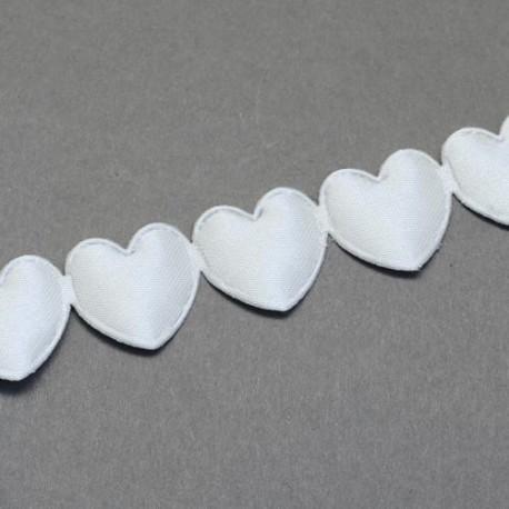 Ruban Coeurs Blanc, 16 mm, au mètre