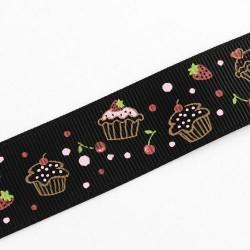 Ruban gros grain Cupcakes, 16 mm, au mètre
