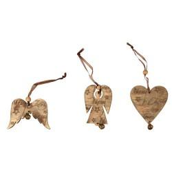 Pendentifs en bois Coeur Ailes Ange 7 cm