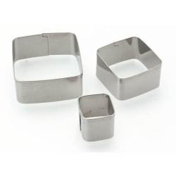 3 emporte-pièces Carrés métalliques pour pate polymère