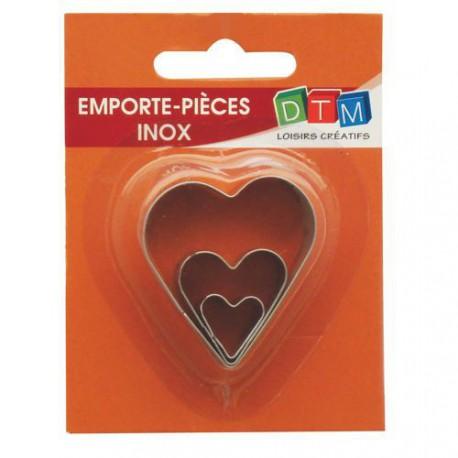 3 emporte-pièces Coeurs métalliques pour fimo