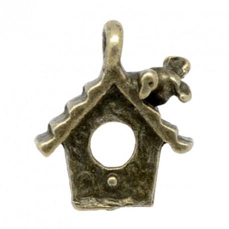 Pendentif breloque en métal nichoir, bronze antique
